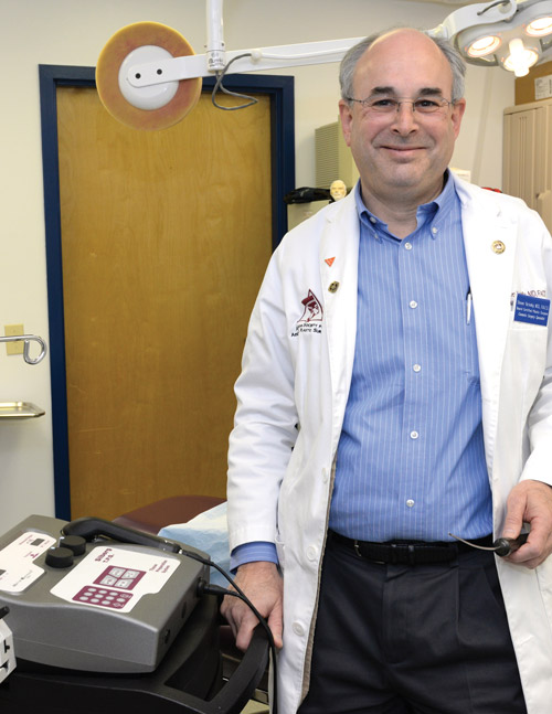 Dr. Yarinsky preparing to use the LipoPerfection® Liposuction Machine.