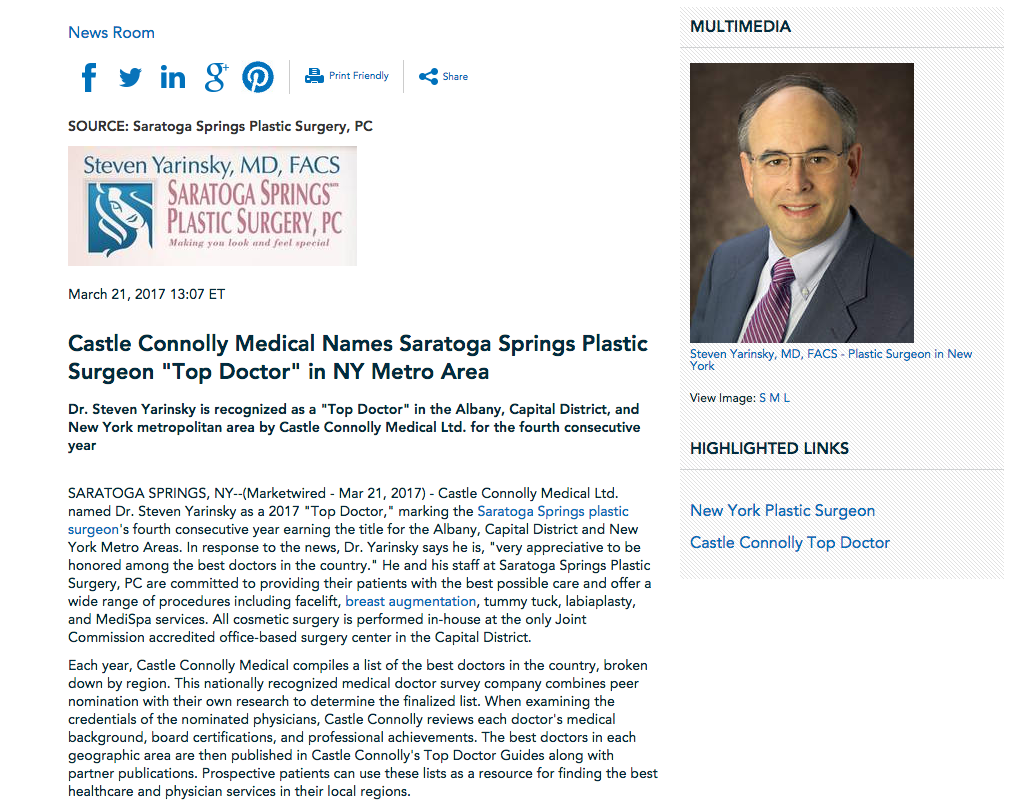 Dr. Steven Yarinsky of Saratoga Springs Plastic Surgery wins Top Doctor Honor for 2017
