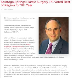 Dr. Yarinsky Voted Best of Region by Saratoga Today